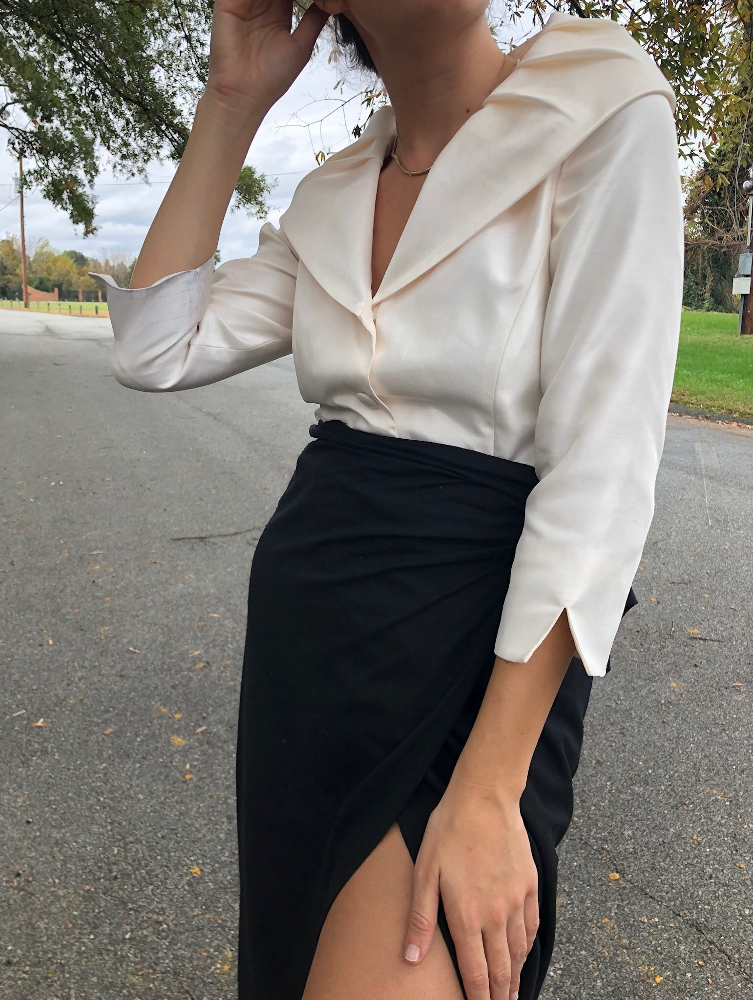 Vintage Pearl Dramatic Collar Blouse