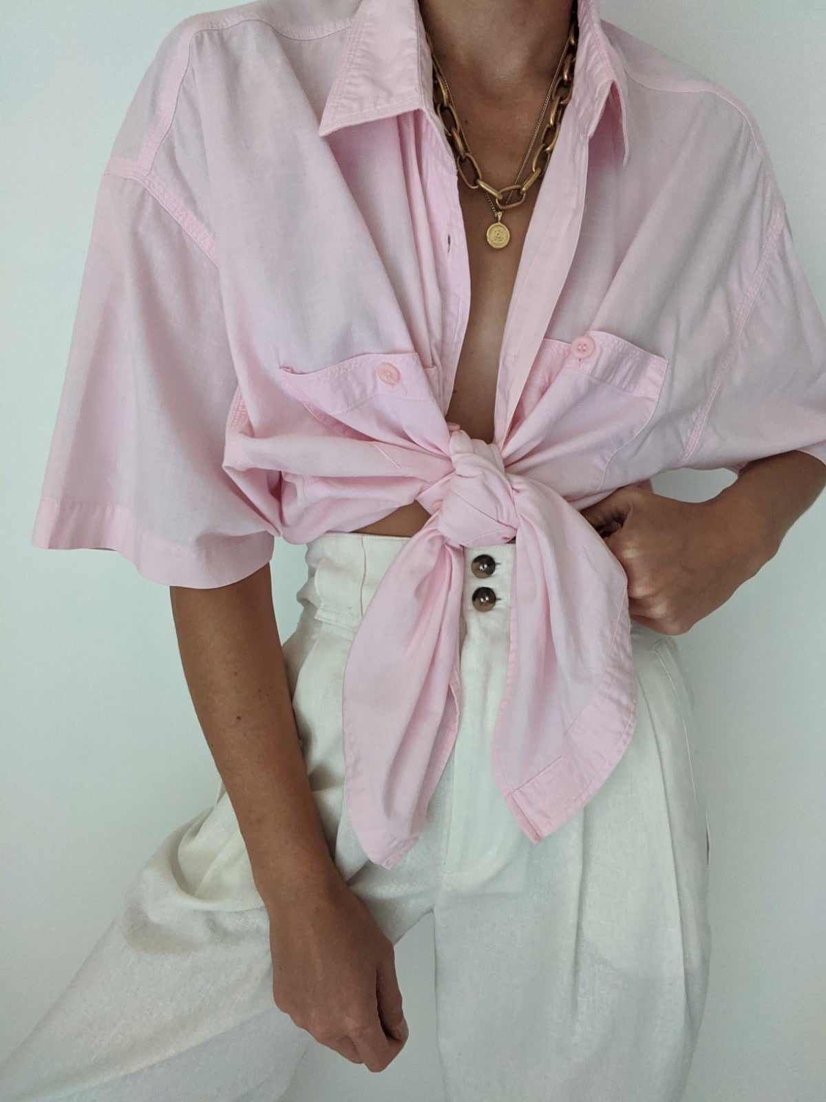Vintage Blush Pocket Button Up