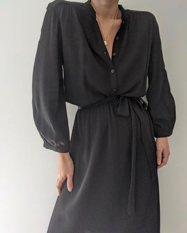 Vintage Black Textured Rayon Dress