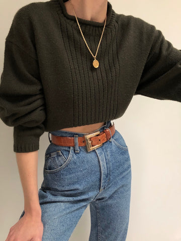 Vintage Forest Knit Mock Neck