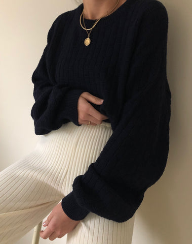 Vintage Midnight Cotton Knit Sweater