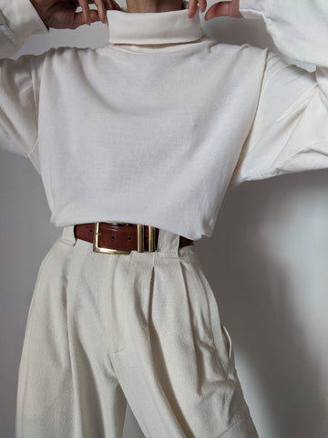 Vintage Thin Cream Turtleneck