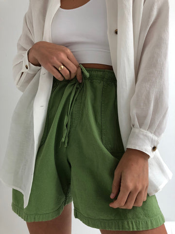 Vintage Lime Cotton Easy Shorts