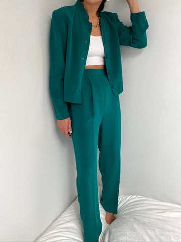 Vintage Teal Silk Pant Suit