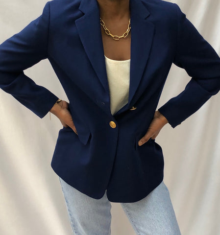 Vintage Pure Wool True Blue Blazer