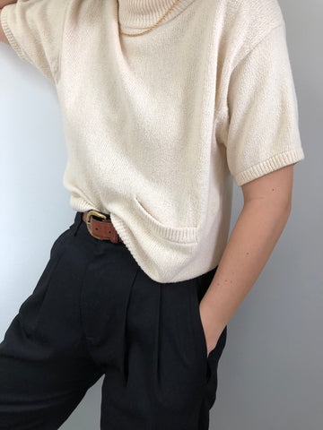 Vintage Cream Silk Lambswool Knit Pocket Mock Neck