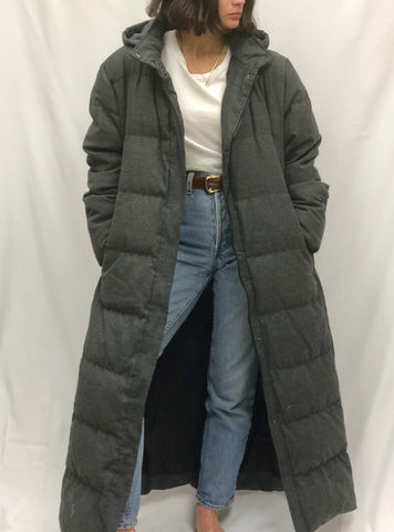Charcoal Quilted Down Long Coat