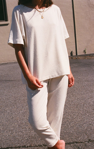 Na Nin Naomi Raw Silk Relaxed Tee / Available in Cream & Black