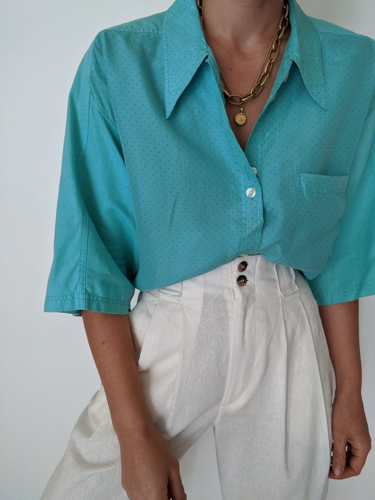 Vintage Silk & Linen Polka Dot Button Up