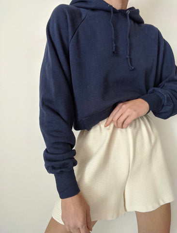 Vintage Navy Hooded Sweatshirt