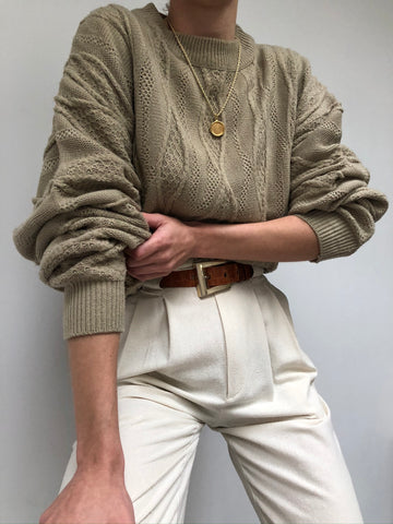 Vintage Taupe Relaxed Knit Sweater