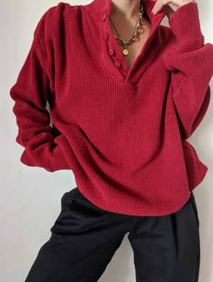 Vintage Faded Cherry Knit Henley