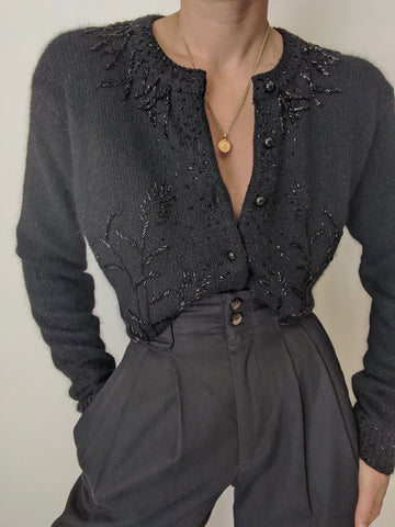 Vintage Black Silk Angora Beaded Cardigan