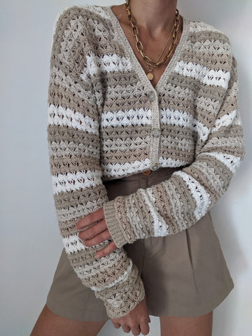 Vintage Taupe & Cream Crocheted Cardigan