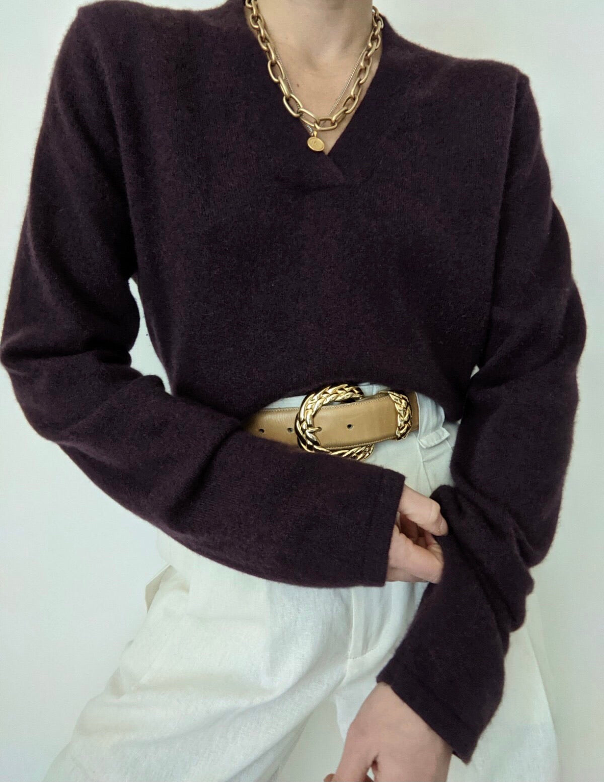 Plum Cashmere Knit Sweater