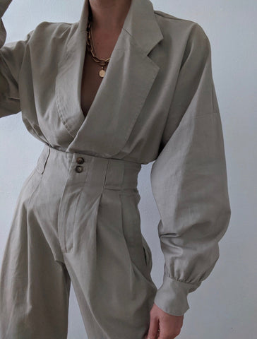 Na Nin Layla Linen Cotton Cropped Jacket / Available in Stone