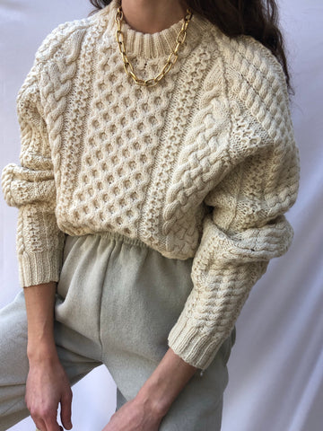 Vintage Wool Blend Fisherman Sweater