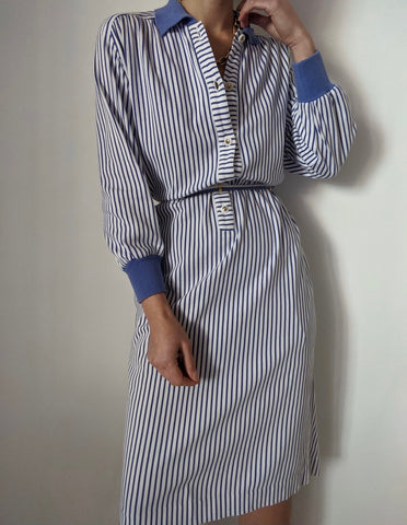 Vintage Sky Blue Striped Dress