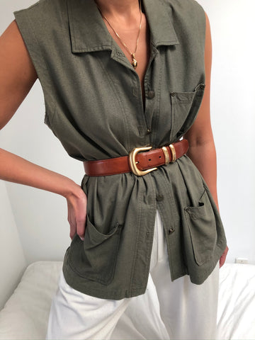 Vintage Olive Raw Silk Sleeveless Button Up
