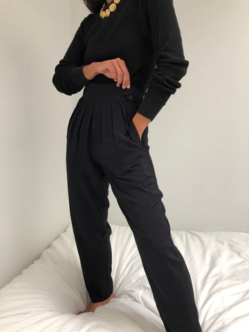 Vintage Onyx Rayon Pleated Trousers
