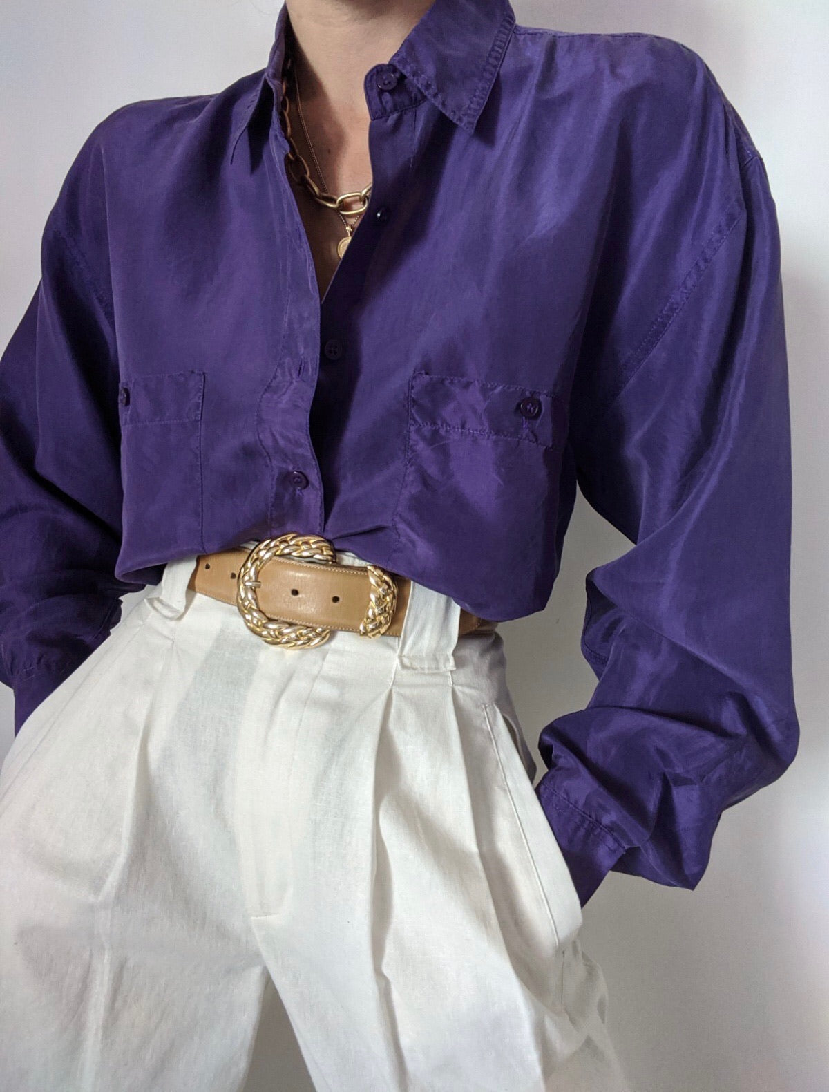 Vintage Plum Silk Button Up