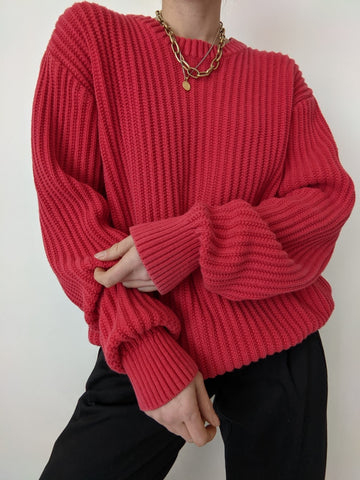 90s Cherry Ribbed Knit Pullover
