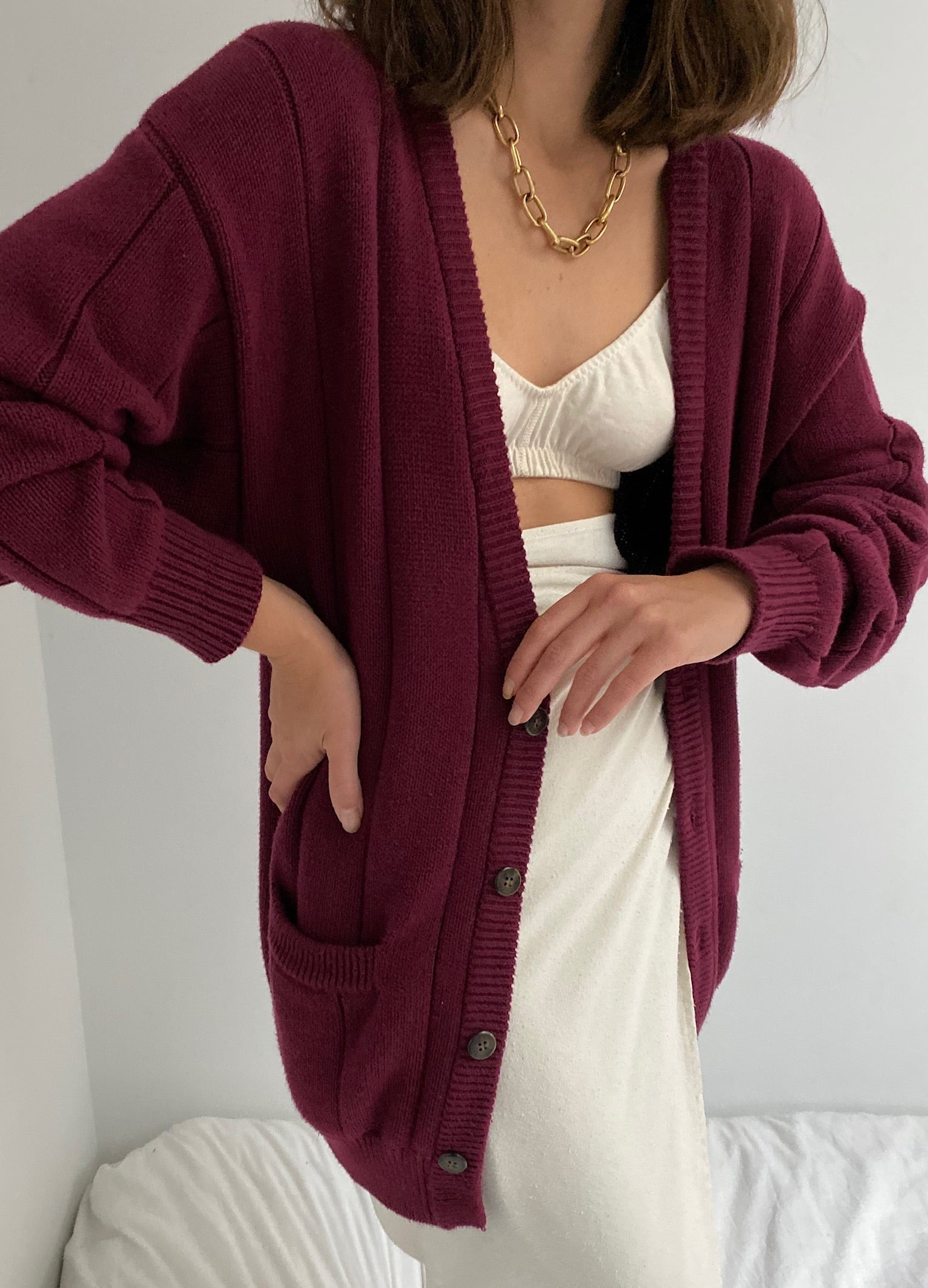 Vintage Cranberry Ribbed Cardigan