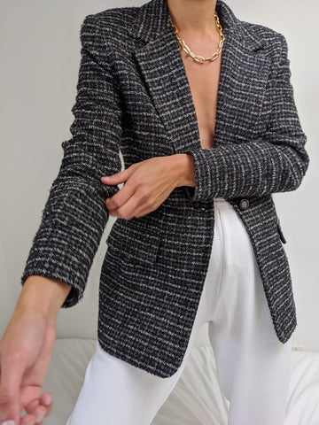 Vintage Onyx & Cloud Plaid Blazer