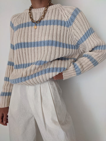 Vintage Petite Blue Striped Knit Sweater