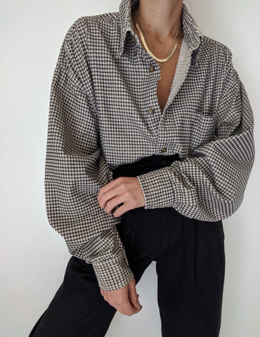 Vintage Grid Patterned Button Up