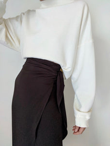 Na Nin Bobbie Rayon Twill Wrap Skirt / Available in Black