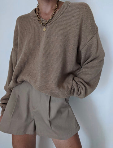 Vintage Camel V-Neck Knit