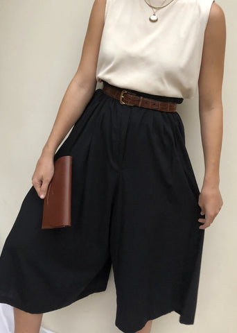 Vintage Sand Cotton Sleeveless Mock Neck / Vintage High Waisted Culottes