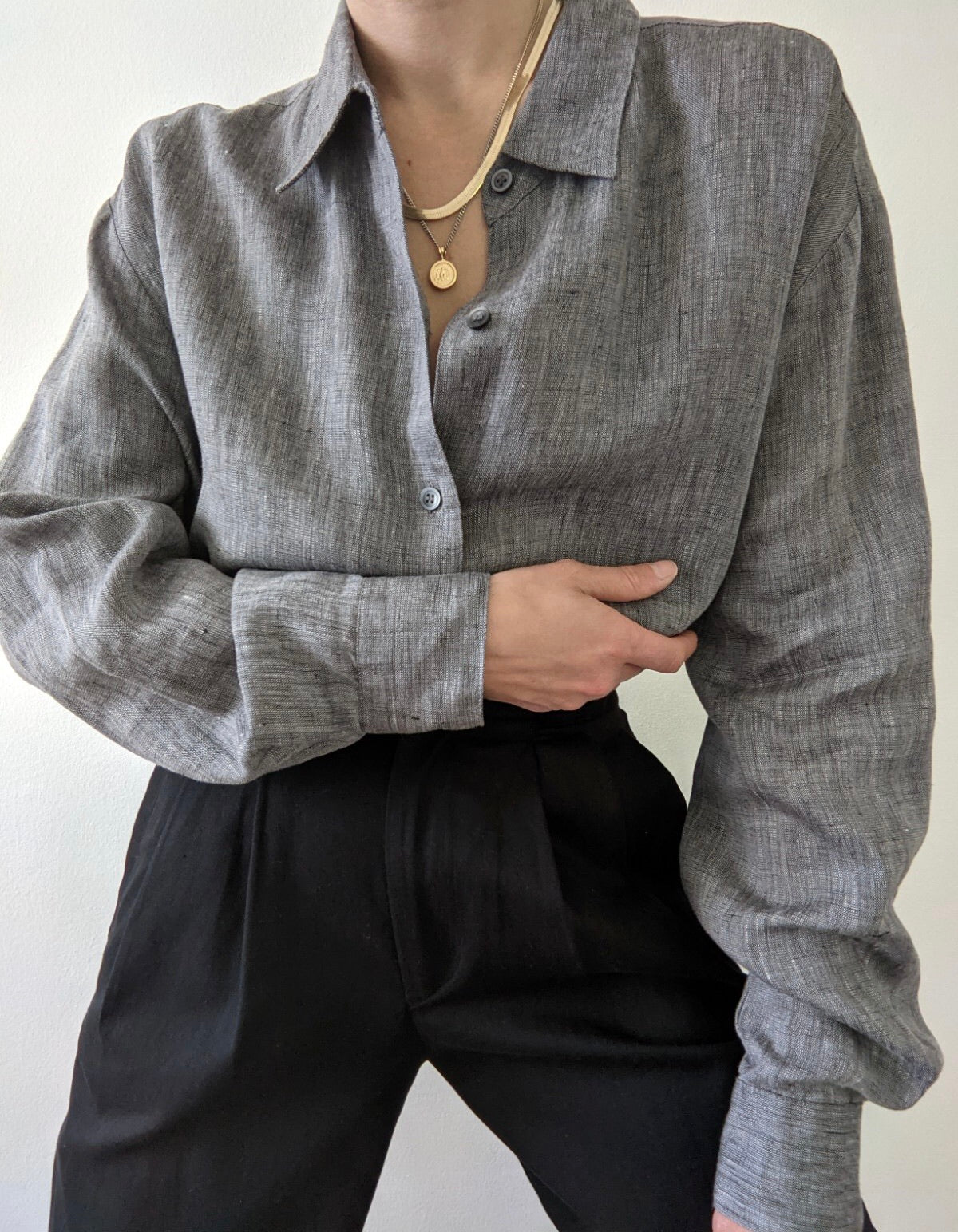 Vintage Charcoal Linen Button Up