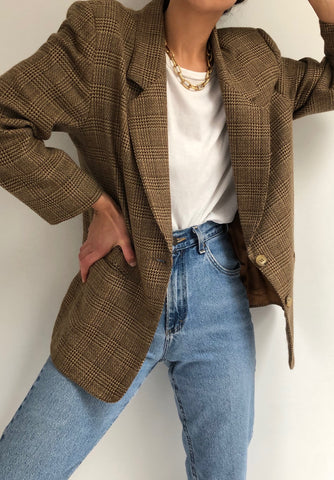Vintage Cocoa Glen Plaid Wool Blazer