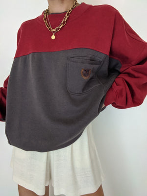 Vintage Maroon & Grey Pocket Pullover