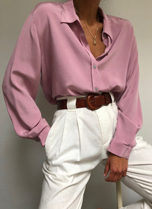 Vintage Dusty Rose Silk Blend Button Up
