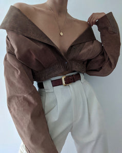 Vintage Cocoa Suede Pleated Jacket