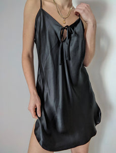 Onyx Silk Slip Dress