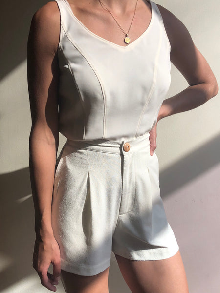 Vintage Cream Silk Sleeveless Top