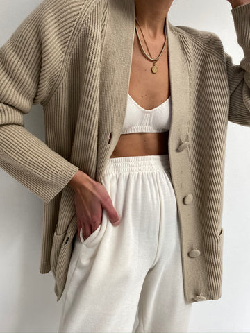 Vintage Taupe Ribbed Knit Cardigan