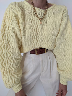 Vintage Lemon Balloon Sleeve Knit