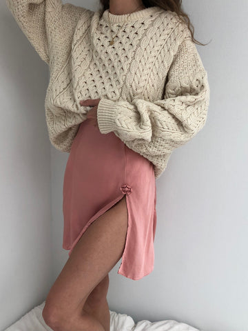 Vintage Cream Wool Cable Knit Pullover