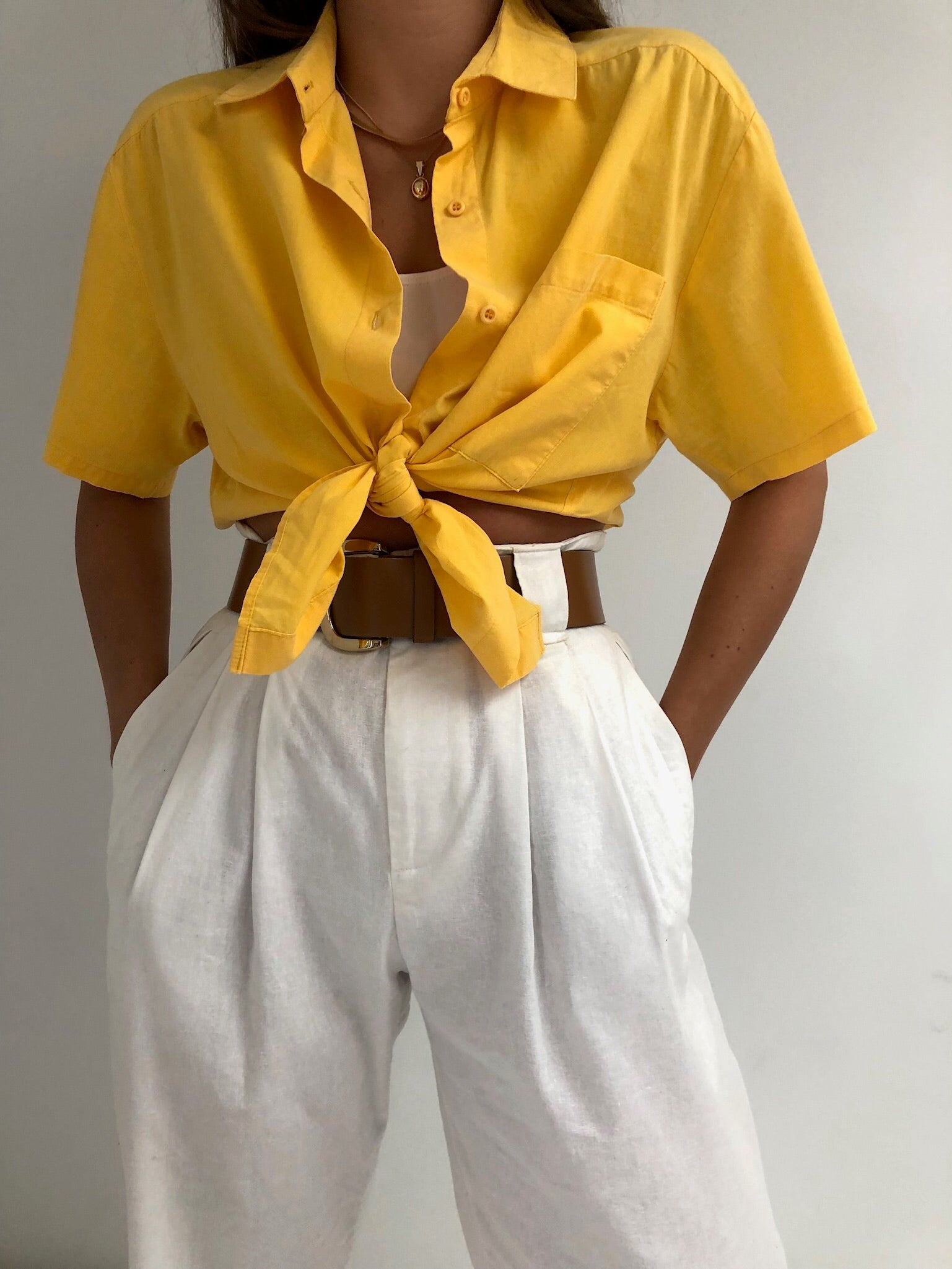 Vintage Lemon Cotton Button Up