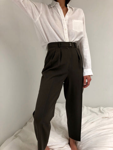 Vintage Olive High Waisted Light Wool Trousers