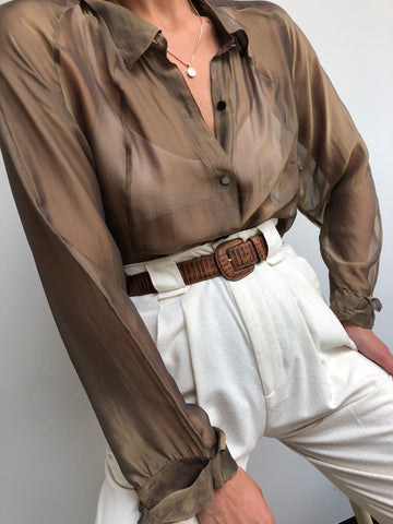 5238a6a47 Vintage Sheer Taupe Silk Blend Button Up