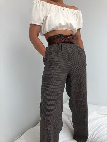 e7e8650d2 Vintage Wool Blend Pattern Trousers