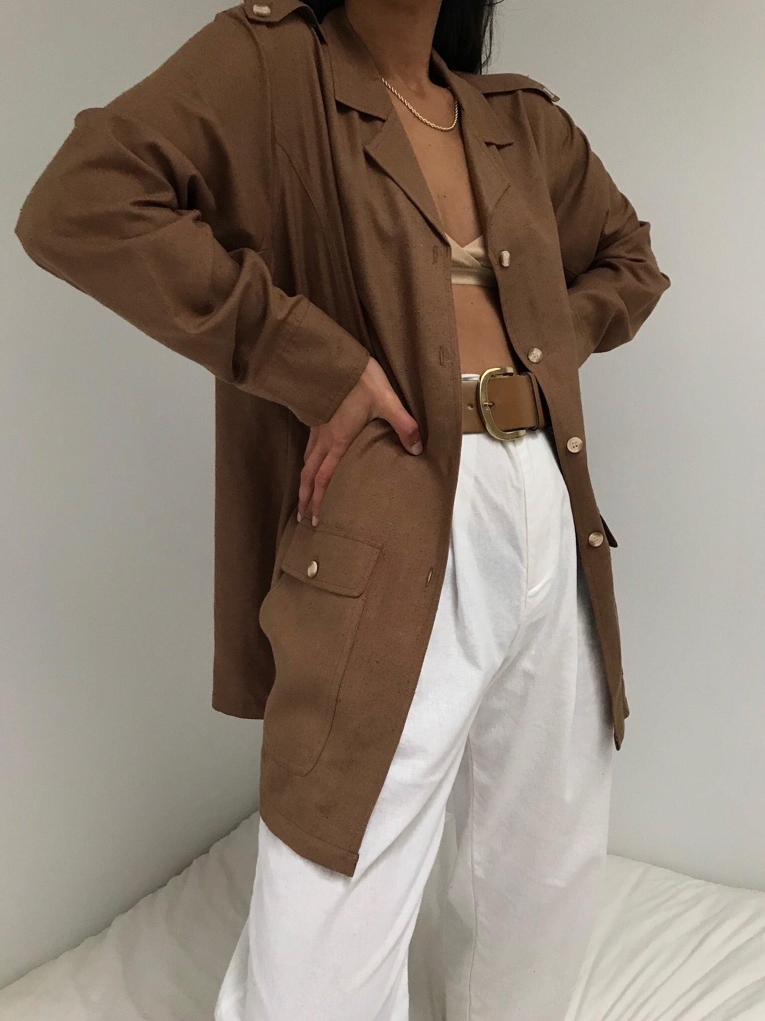 Vintage Cocoa Raw Silk Chore Coat