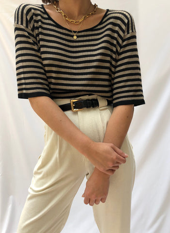 Vintage Silk Cocoa Striped Tee