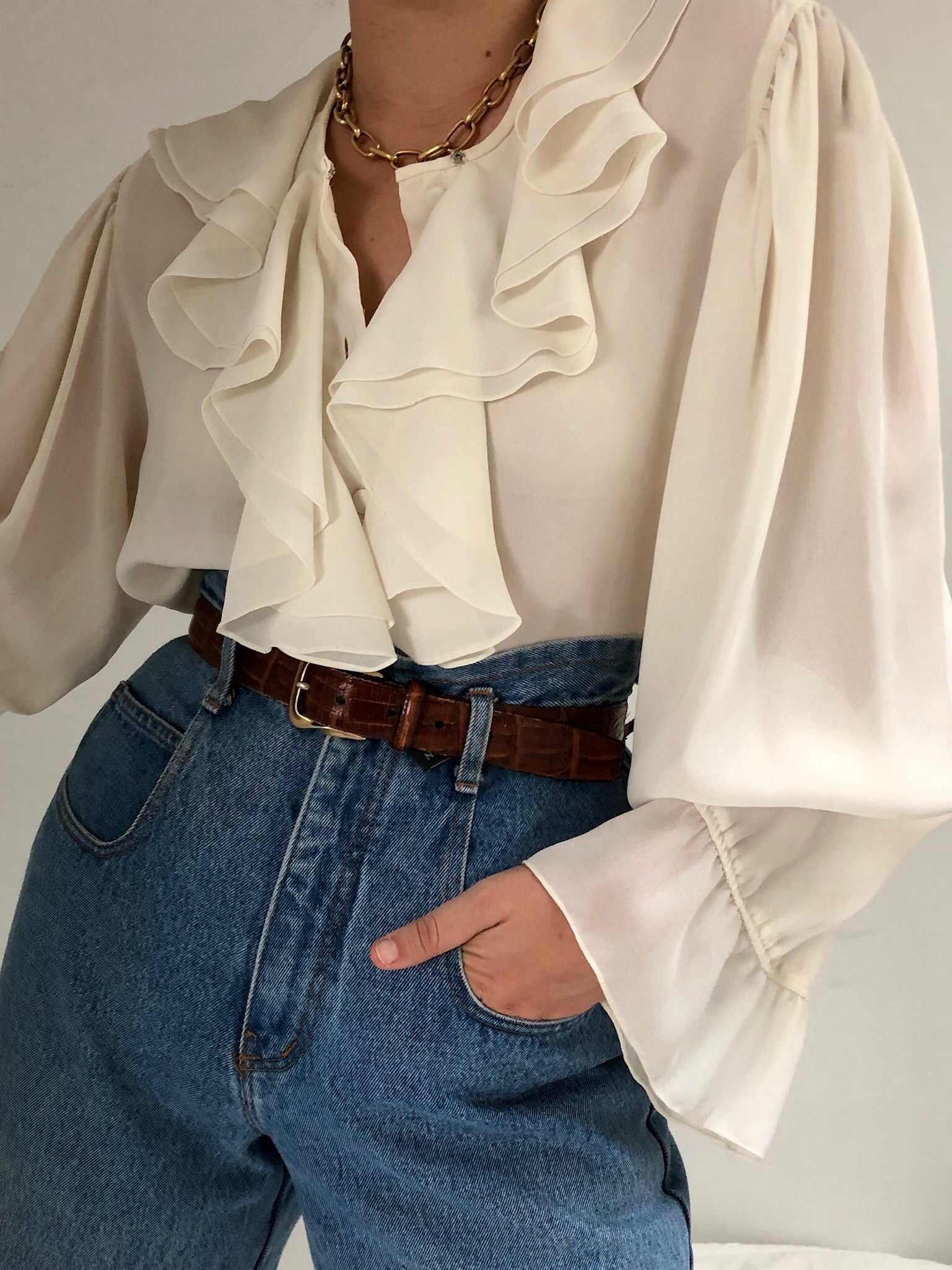 Vintage Lightweight Ruffled Button up Blouse